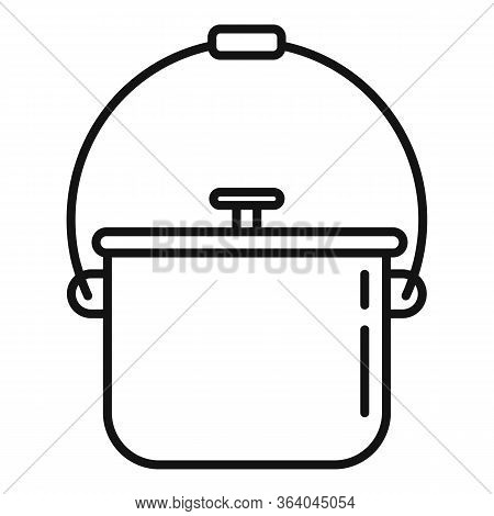Camping Food Fire Pot Icon. Outline Camping Food Fire Pot Vector Icon For Web Design Isolated On Whi