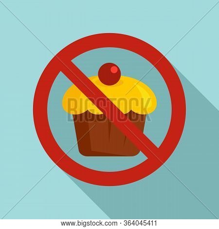 No Sweet Cupcake Icon. Flat Illustration Of No Sweet Cupcake Vector Icon For Web Design