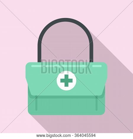 First Aid Kit Bag Icon. Flat Illustration Of First Aid Kit Bag Vector Icon For Web Design