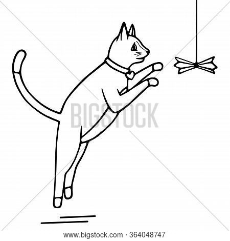 Hand-drawn Vector Illustration. Cute Doodle Cat Jumping For Toy Black Line On A White Background