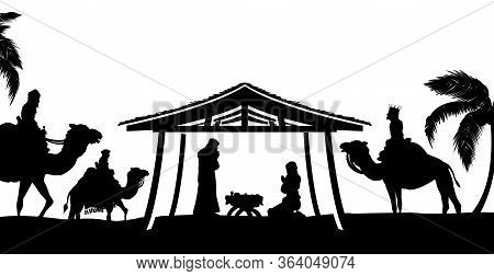 Christian Christmas Nativity Scene Of Baby Jesus In The Manger With Mary And Joseph In Silhouette Su