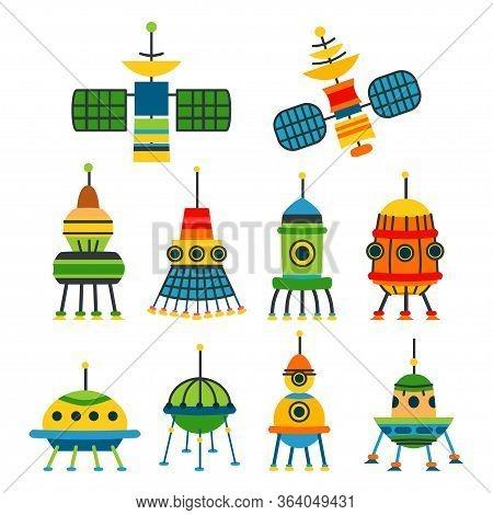 Set Of Earth Satellites. A Spacecraft Equipment