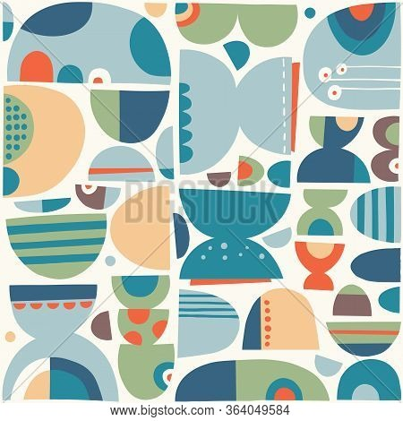 Funny Abstract Rounded Blue, Orange, Green And Brown Shapes Composition Pattern On Pale Background