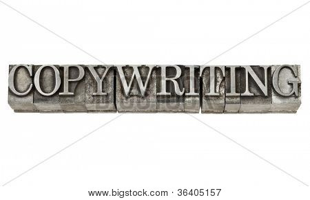 copywriting - isolated word in grunge vintage letterpress metal type