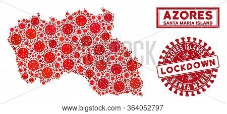 Coronavirus Collage Santa Maria Island Map And Watermarks. Red Rounded Lockdown Textured Seal Stamp.