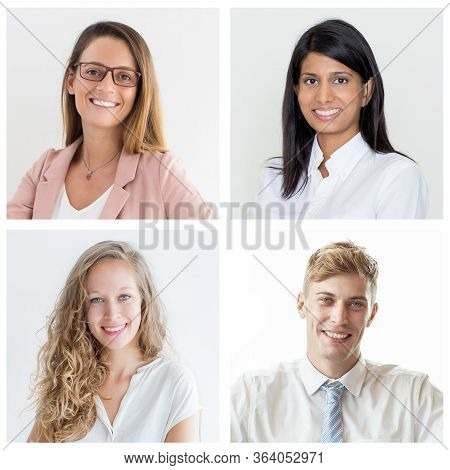 Happy Cheerful Diverse College Students Isolated Portrait Set. Smiling Young Men And Women Of Differ