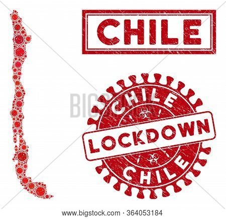 Covid-2019 Virus Collage Chile Map And Seals. Red Round Lockdown Textured Seal Stamp. Vector Covid V