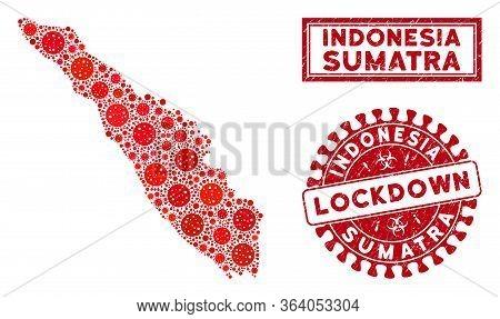 Covid-2019 Virus Collage Sumatra Island Map And Seals. Red Round Lockdown Grunge Watermark. Vector C
