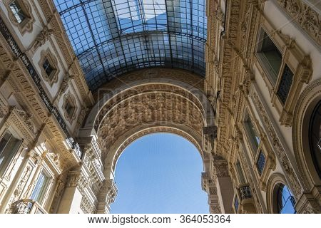 Milan, Italy, October 2016 - Ornate Interior Of Galleria Vittorio Emanuele Ii, Shopping Arcade In Mi