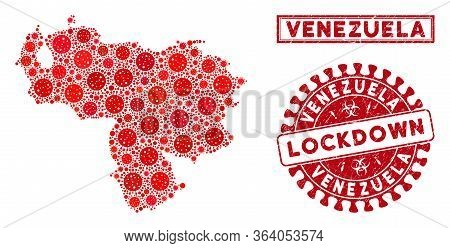 Covid-2019 Virus Mosaic Venezuela Map And Rubber Prints. Red Round Lockdown Distress Stamp. Vector C