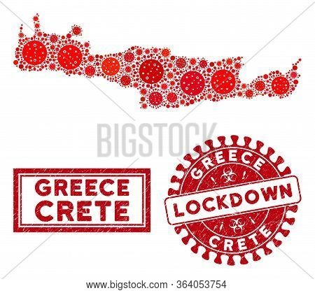 Covid-2019 Virus Collage Crete Island Map And Stamps. Red Rounded Lockdown Grunge Watermark. Vector