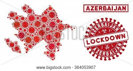 Covid-2019 Virus Collage Azerbaijan Map And Seals. Red Round Lockdown Scratched Seal Stamp. Vector C