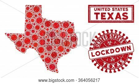 Coronavirus Collage Texas Map And Seals. Red Rounded Lockdown Scratched Stamp. Vector Coronavirus Pa