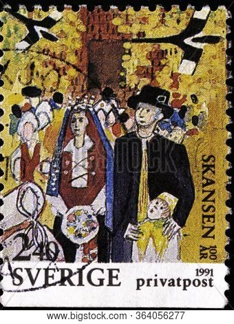 02.11.2020 Divnoe Stavropol Krai Russia The Postage Stamp Sweden 1991 The 100th Anniversary Of Skans