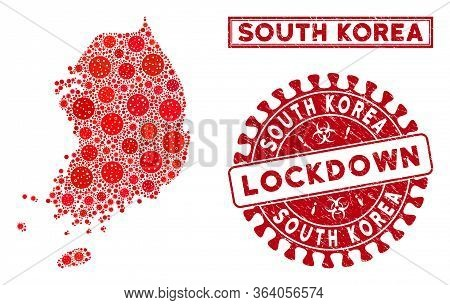 Flu Virus Collage South Korea Map And Watermarks. Red Round Lockdown Scratched Seal Stamp. Vector Co