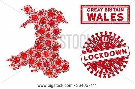 Coronavirus Collage Wales Map And Seals. Red Round Lockdown Textured Stamp. Vector Coronavirus Viral