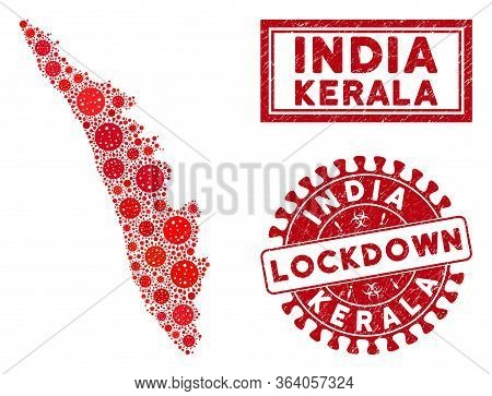 Covid-2019 Virus Collage Kerala State Map And Seals. Red Round Lockdown Distress Stamp. Vector Covid