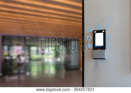 Face Scanner On A Building Entrance Wifi System To Unlock The Door Security System. Face Scanner For