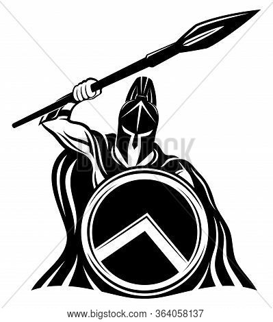 Spartan Sign With Spear And Shield On A White Background.