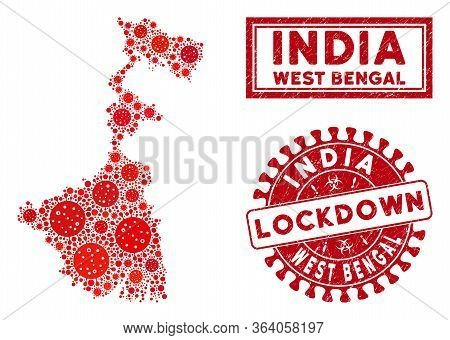 Covid-2019 Virus Collage West Bengal State Map And Seal Stamps. Red Round Lockdown Scratched Waterma