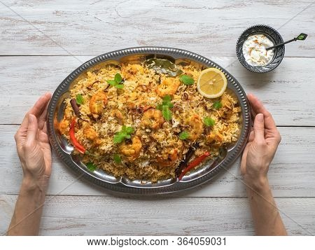 Indian Biryani With Shrimp. Tasty And Delicious Prawns Biryani, Top View.