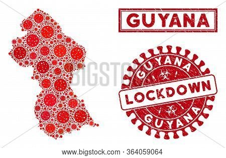 Flu Virus Collage Guyana Map And Seal Stamps. Red Rounded Lockdown Distress Seal Stamp. Vector Coron
