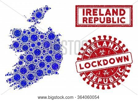 Coronavirus Collage Ireland Republic Map And Seal Stamps. Red Round Lockdown Scratched Seal. Vector