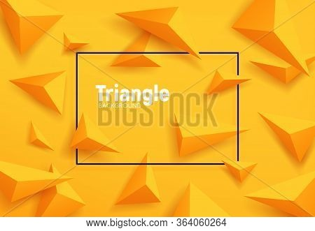 Yellow Triangles, Abstract Geometric Vector Background. 3d Pyramids Pattern Of Origami Polygon Shape