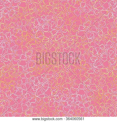 Pink Blossoms Springtime Seamless Vector Pattern. Decorative Girly Floral Surface Print Design. For