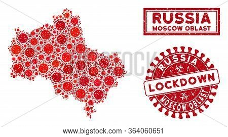 Coronavirus Mosaic Moscow Oblast Map And Seal Stamps. Red Rounded Lockdown Scratched Seal Stamp. Vec