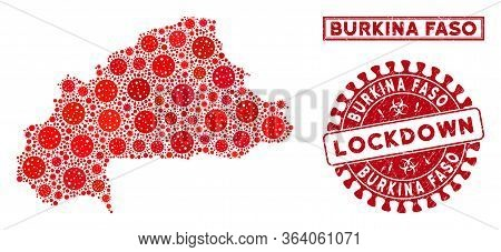 Covid-2019 Virus Mosaic Burkina Faso Map And Rubber Prints. Red Round Lockdown Textured Seal. Vector