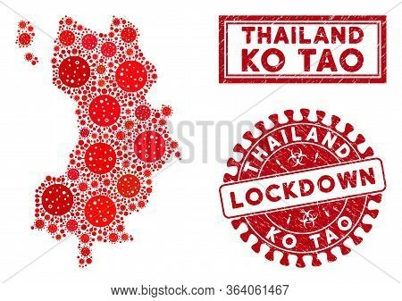 Covid-2019 Virus Collage Ko Tao Map And Watermarks. Red Rounded Lockdown Textured Seal Stamp. Vector
