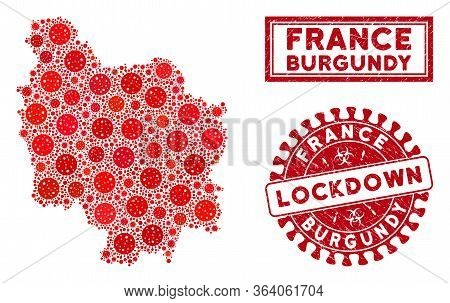 Coronavirus Collage Burgundy Province Map And Seal Stamps. Red Rounded Lockdown Scratched Seal Stamp