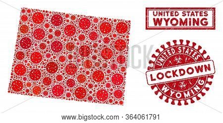 Covid-2019 Virus Mosaic Wyoming State Map And Seal Stamps. Red Round Lockdown Scratched Seal. Vector