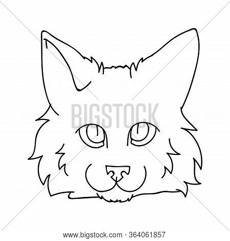 Cute Cartoon Ragdoll Cat Face Monochrome Lineart Vector Clipart. Pedigree Kitty Breed For Cat Lovers