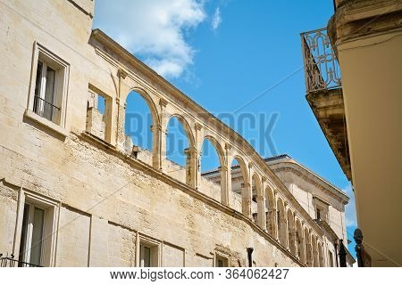 Lecce Street View In A Beautiful Sunny Day, Puglia, Southern Italy. Europe.