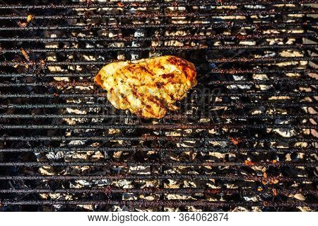 Steak Grilled On A Charcoal Barbeque. Top View Of Camping Tasty Barbecue, Food Concept, Food On Gril