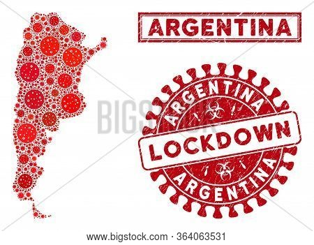 Coronavirus Mosaic Argentina Map And Rubber Prints. Red Rounded Lockdown Scratched Seal. Vector Coro