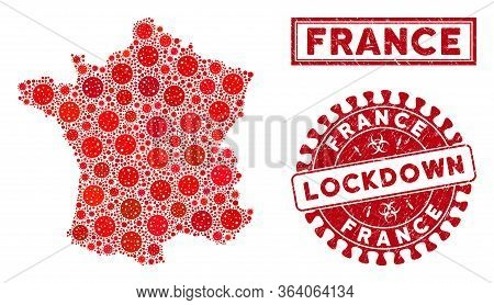 Covid-2019 Virus Mosaic France Map And Seals. Red Round Lockdown Grunge Seal. Vector Covid Pathogen