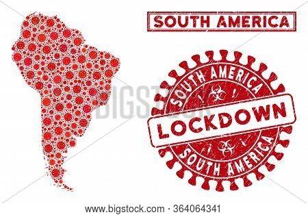 Flu Virus Mosaic South America Map And Stamps. Red Round Lockdown Distress Watermark. Vector Coronav