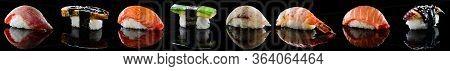 Set Of Traditional Japanese Nigiri Sushi Collection On Black With Reflection. Delicious Sashimi Seaf
