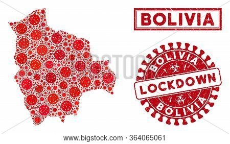 Covid-2019 Virus Collage Bolivia Map And Seals. Red Round Lockdown Distress Seal Stamp. Vector Covid