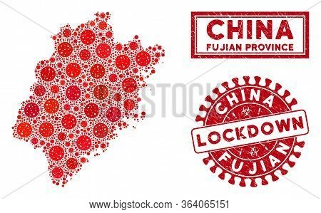 Coronavirus Collage Fujian Province Map And Seal Stamps. Red Rounded Lockdown Distress Seal. Vector