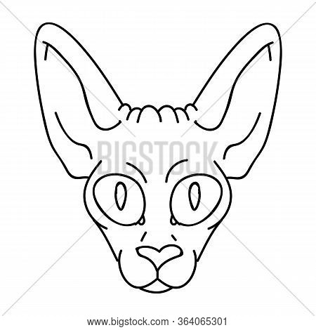 Cute Cartoon Monochrome Sphynx Kitten Face Vector Clipart. Pedigree Exotic Kitty Breed For Cat Lover