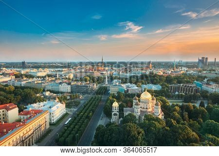 Riga, Latvia. Riga Cityscape. Top View Of Buildings Ministry Of Justice, Supreme Court, Cabinet Of M
