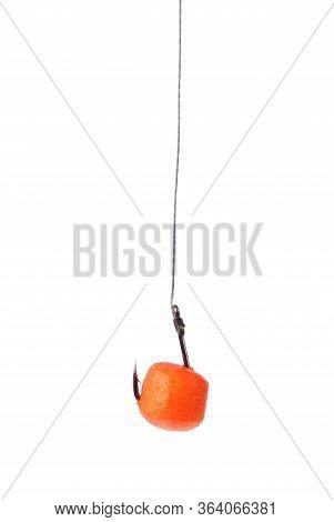 Cukk And Hook, Fishing Baits, Close Up, Floating Baits For Fish. Baits For Carp. Fishing Gear. Isola