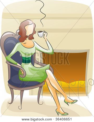 Watercolor Illustration Featuring a Woman Sipping Coffee Near a Fireplace