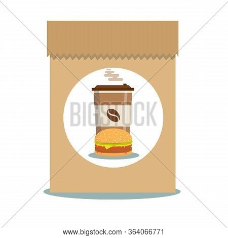 Fast Food - Take Away Handle Lunch Bags. Vector Flat Design Illustration.