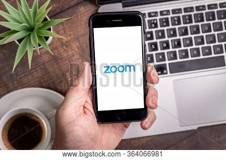 Antalya, Turkey - May 1, 2020. Smart Phone Showing Zoom Cloud Meetings App Logo.