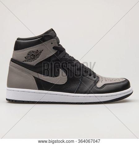 Vienna, Austria - February 19, 2018: Nike Air Jordan 1 Retro High Og Black, Grey And White Sneaker O